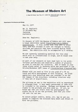 Letter from the Museum of Modern Art. Taglietti projects included in the exhibition were Giralang Primary School, Osborne House and the Townhouse Motel, Wagga Wagga. Transformations in Modern Architecture, Museum of Modern Art, New York, 1978.
