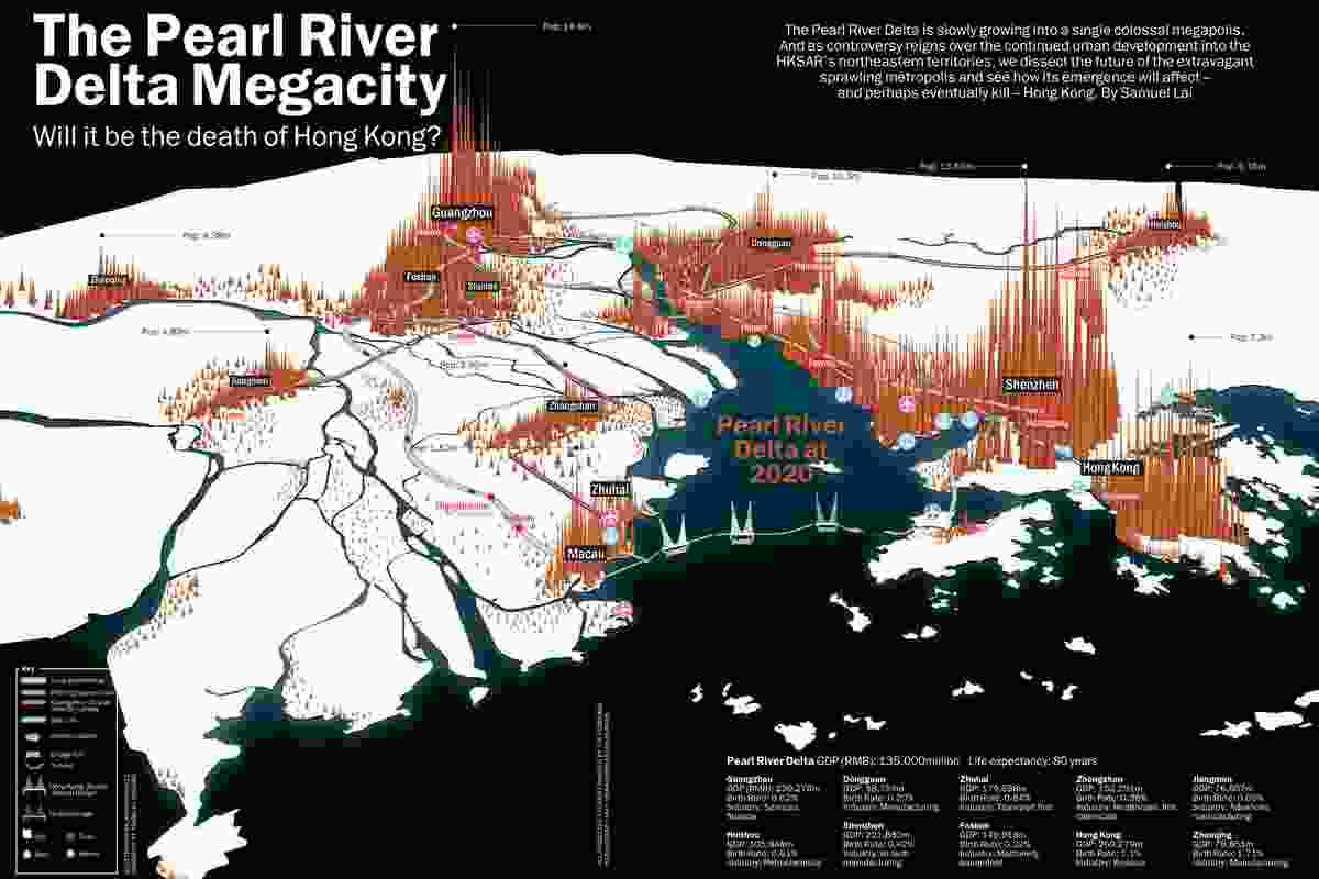 Diagram showing the Pearl River Delta megacity. Originally published in Time Out Hong Kong, 11 September 2013. Illustration by Jeroen Brulez, research by Ysabelle Cheung.