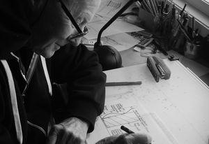 Gabriel at the drawing board, 2016.