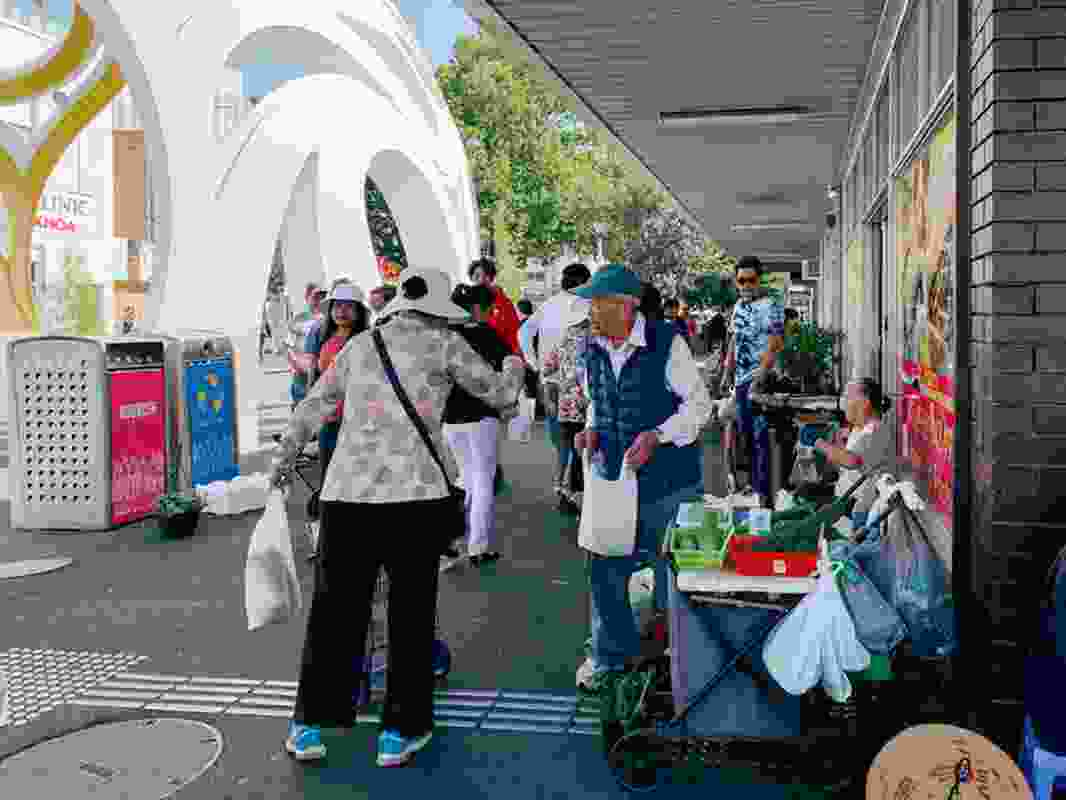 The Footscray Mini Green Market occupies the footpath on the corner of Hopkins and Leeds streets.