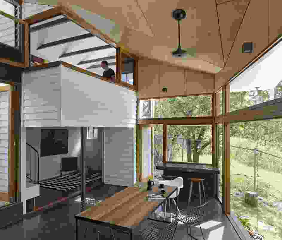 """The addition's """"in-between room"""" connects a previously detached existing tower with the existing house. Artwork: Keith Burt."""
