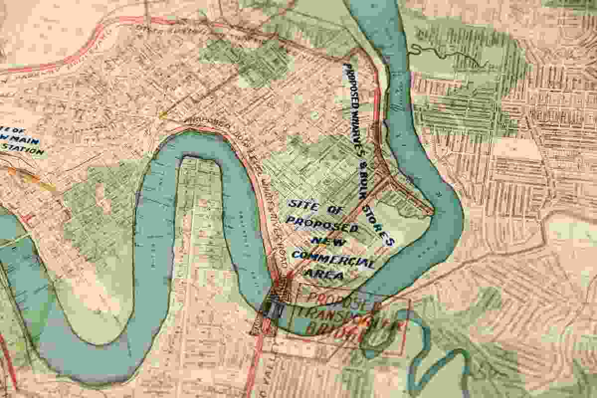 A map showing a series of bridges and the city ring road proposed for Brisbane in 1918 by planner William John Earle, featured in the Design Finds exhibition.
