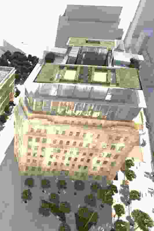 The proposed ninth floor of the Department of Education building will have rooftop apartments topped with private hedged garden terraces.