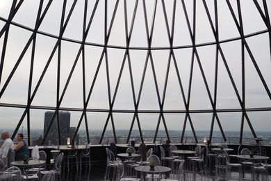Inside 30 St Mary's Axe, affectionately known as the Gherkin, by Foster and Partners in London