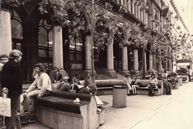 Street furniture in Martin Place, Sydney, designed in 1970 by Nielsen Design Associates.