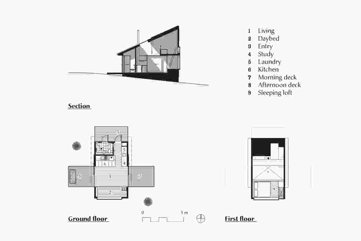 Plans and section of Bruny Island Cabin by Maguire and Devine Architects.