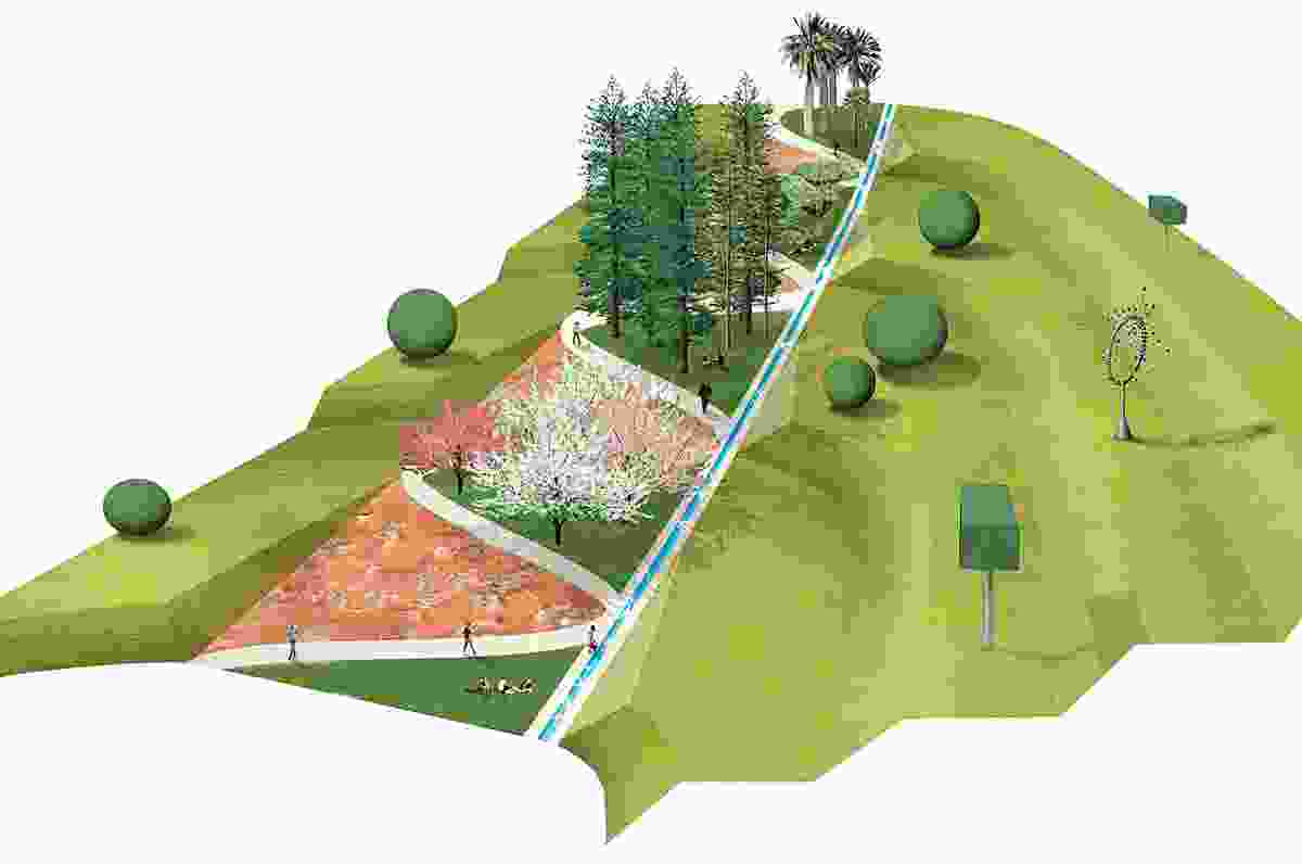 A render showing an option for the central clearing.