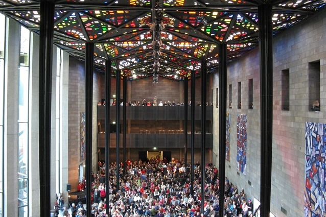 The Great Hall of the National Gallery of Victoria, featuring a stained glass ceiling by artist Leonard French.