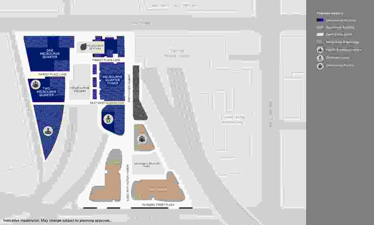 Site plan of Lend Lease's Melbourne Quarter development.