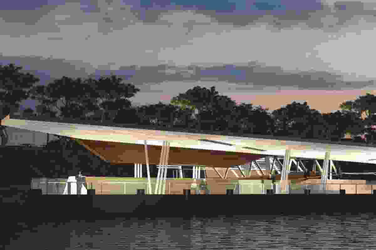 Cox Rayner, Derlot and Aurecon's proposal for a Brisbane ferry terminal.
