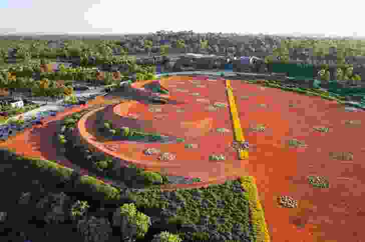 The central sand garden at the Royal Botanic Gardens' Australian Garden, at Cranbourne in Victoria is an abstraction of Australia's red, arid centre.