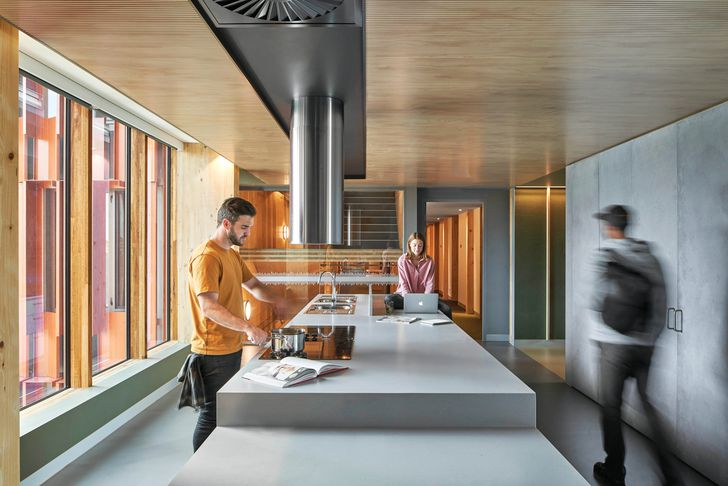 In a thoughtful review of the student housing typology, the building includes communal kitchens on every floor.