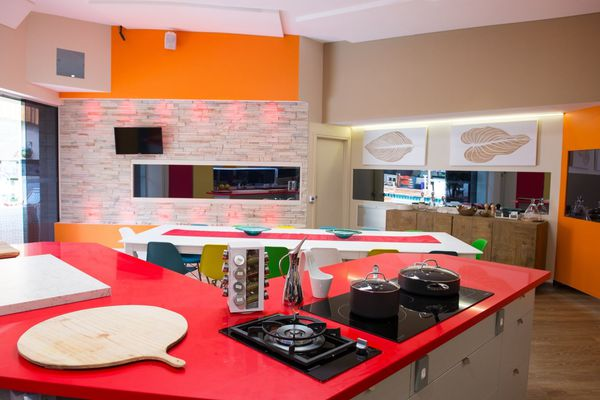 The Big Brother kitchen benches are Silestone Rosso Monza from Cosentino.