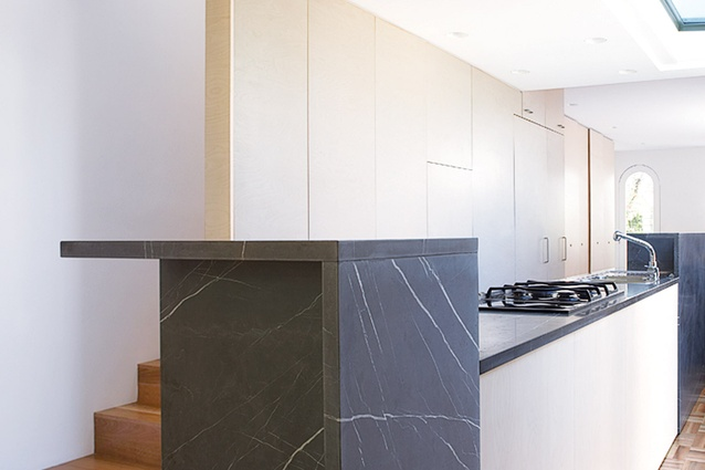 Paddington House by Genevieve Lilley Architects: intersecting forms combine to make the kitchen.
