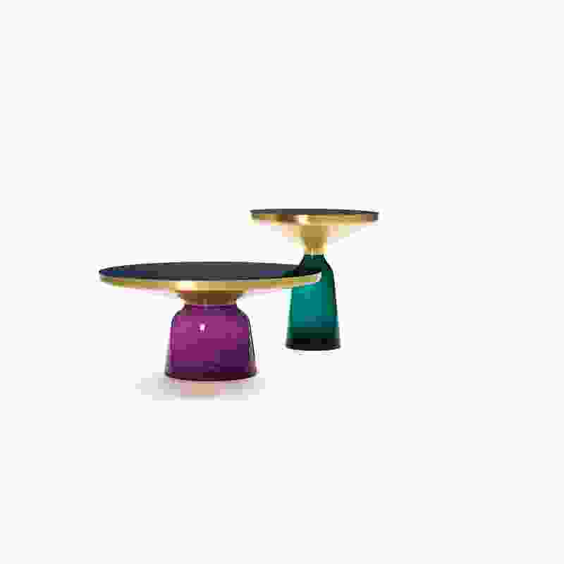 The Bell table collection, constructed from glass and brass, was a collaboration with a fifteenth-generation glass manufacturer.