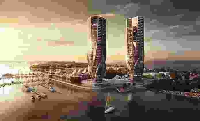 Mariners Cove twin towers designed by Zaha Hadid Architects.