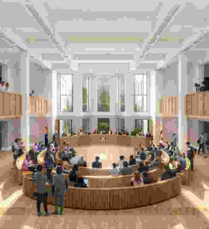 Melbourne Town Hall ground floor revamp and public forum by Hassell.