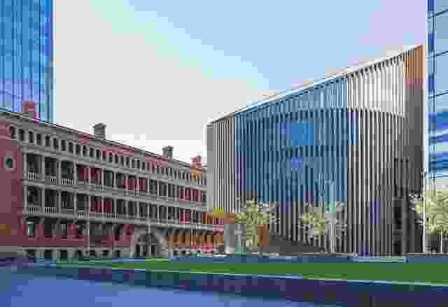 珀斯图书馆的城市,具有独特的圆形形式和成角度的顶部,对标题建设保持开放景观。