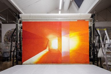 Perspective on a Flat Surface, 2016, John Wardle Architects, woven by Chris Cochius, Pamela Joyce, Cheryl Thornton and Jennifer Sharpe, wool, cotton, 2.26 x 3.85m.
