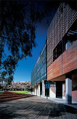 Looking towards the timber battens of the northern teaching building, with a landscaped area in the foreground.