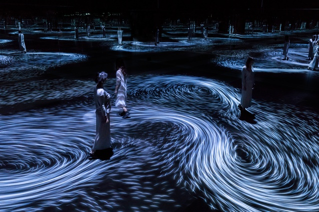 <i>Moving Creates Vortices and Vortices Create Movement</i>, 2017, interactive digital projection by TeamLab.