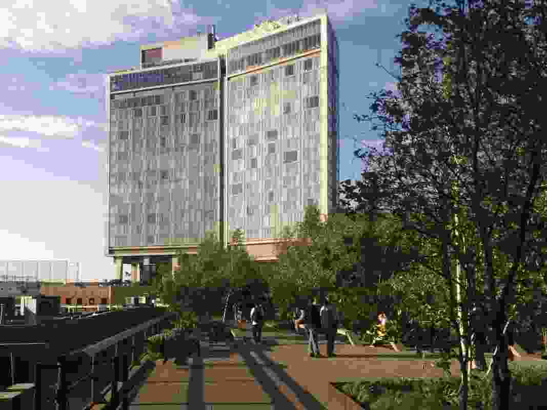 The Standard Hotel straddles the High Line at West 13th Street.