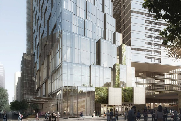 A proposed hotel tower designed by Kengo Kuma and Associates and Crone.