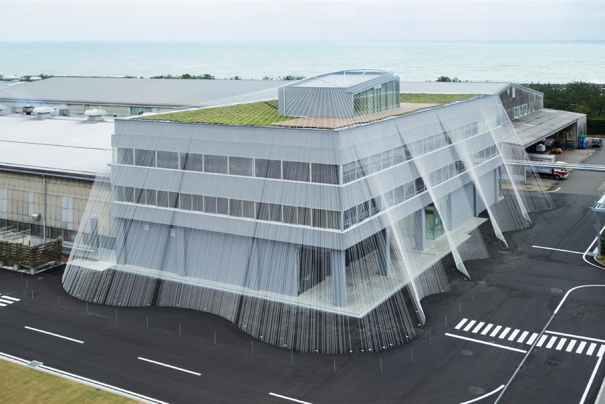 Komatsu Seiren Fabric laboratory fa-bo by Kengo Kuma and Associates, 2013.