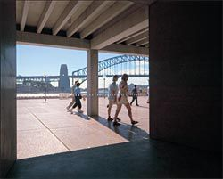 Looking from the Western Foyer, through a new angled opening, to the harbour. Image: Eric Sierins