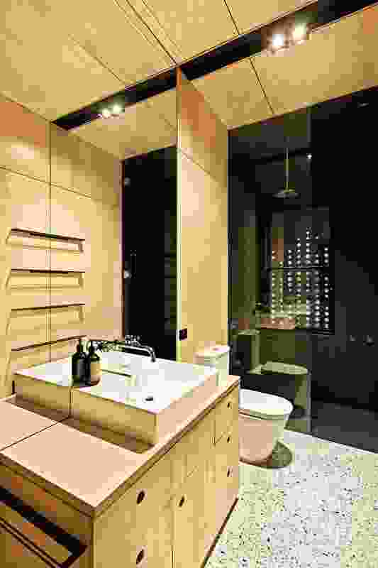 All spaces in the Kids Pod by Mihaly Slocombe are lined meticulously in plywood, including the bathroom.
