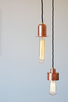 Copper and tungsten hanging lights by LifeSpace Journey.