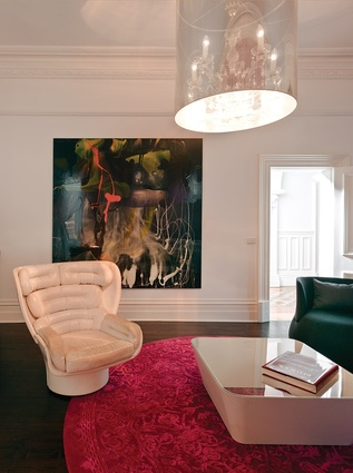 """Each room has a different character suitable for certain members of the family. The Pink Room is an """"adult"""" space. Artwork: Dale Frank, Anna Schwartz Gallery."""
