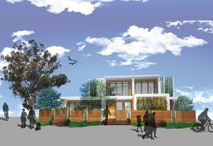 The north facade of Team Collaborative Future's winning scheme.