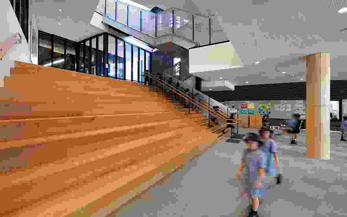 The Hellerup stair at South Melbourne Primary School by Hayball provides tiered seating as well as a space for meeting and presentations.