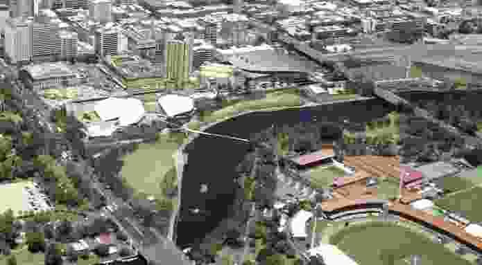 Oxigen's preliminary masterplan for riverbank in Adelaide.