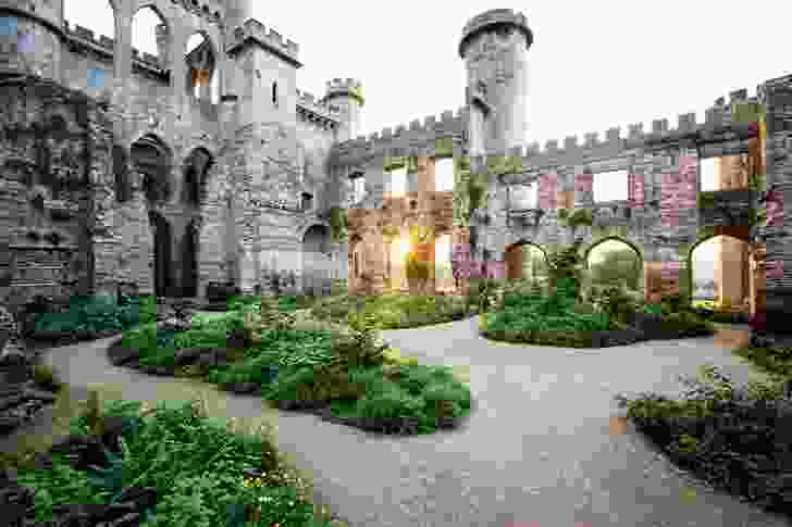 Verdant gardens planted within the dramatic ruins of Lowther Castle evoke the sense of a reordered nature.