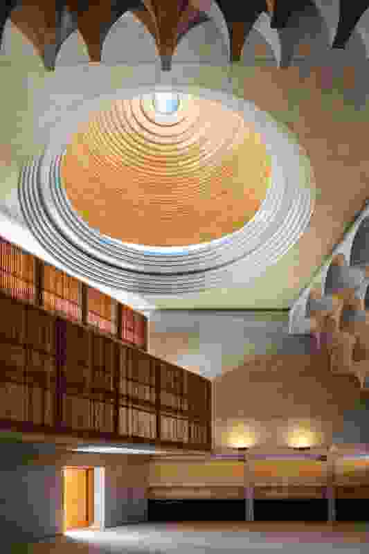 Inside, the main prayer space appears to have been sculpted from raw concrete. The large dome draws the eye up, magnifying the spiritual significance of the space.