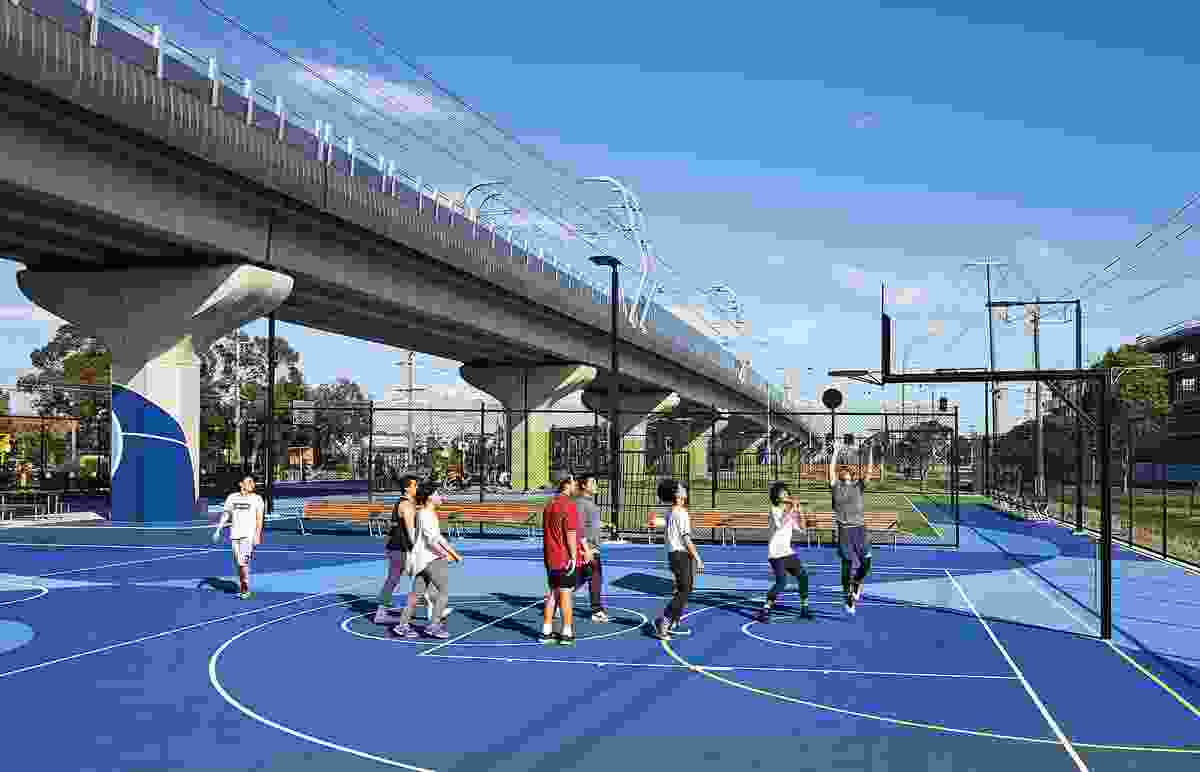 Dedicated basketball courts, in addition to bike repair points, skate parks and gardens, form activity nodes along the linear park.