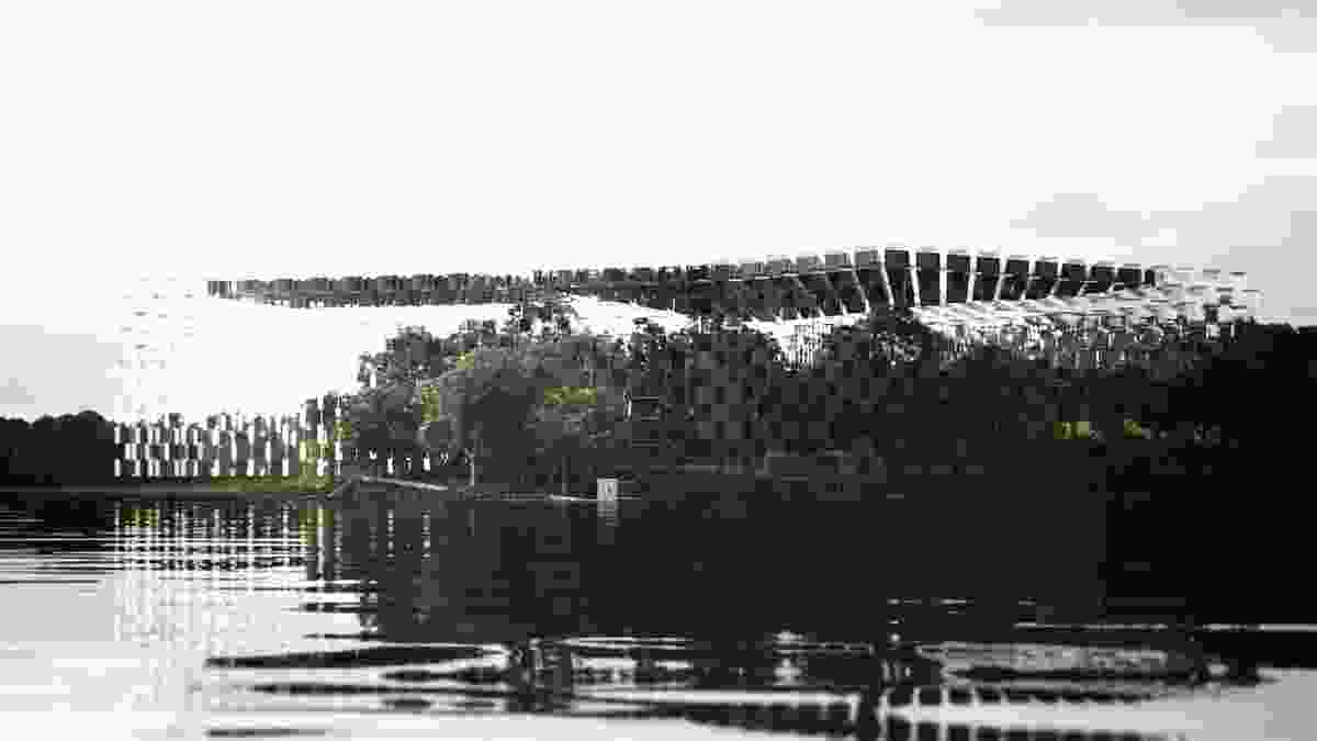 Lodge on the Lake (competition entry 2013) in Canberra by m3architecture. Digital reconstruction by Mark Parsons.