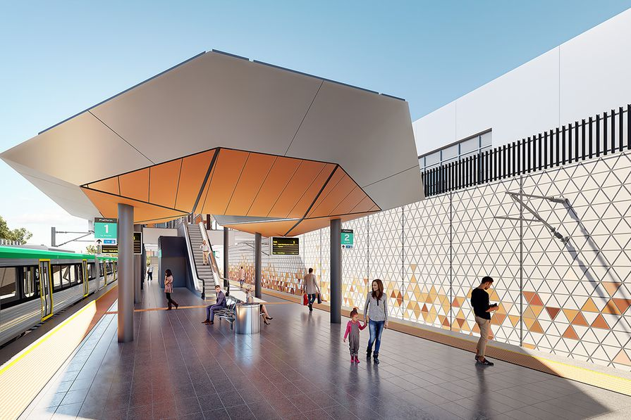 A platform at Forrestfield Station by Weston Williamson and Partners in collaboration with GHD Woodhead.