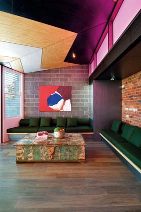 The living space. Artwork: Sally Gabori, Outside Dingkarri, 2006.