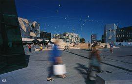 View from the corner of Flinders Street and St Kilda Road, across St Paul's Plaza.Image: Derek Swalwell.