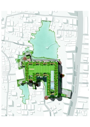 Site plan of the BRAC university in Dhaka by WOHA.