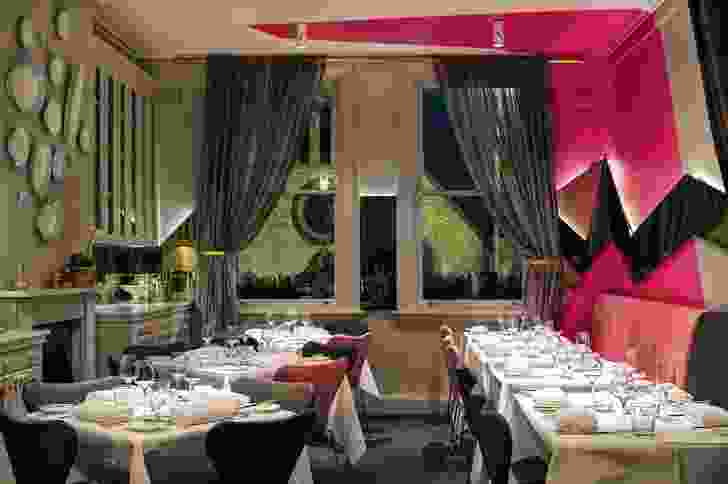 The upstairs dining room retains its opulence and gains a graphic signature.