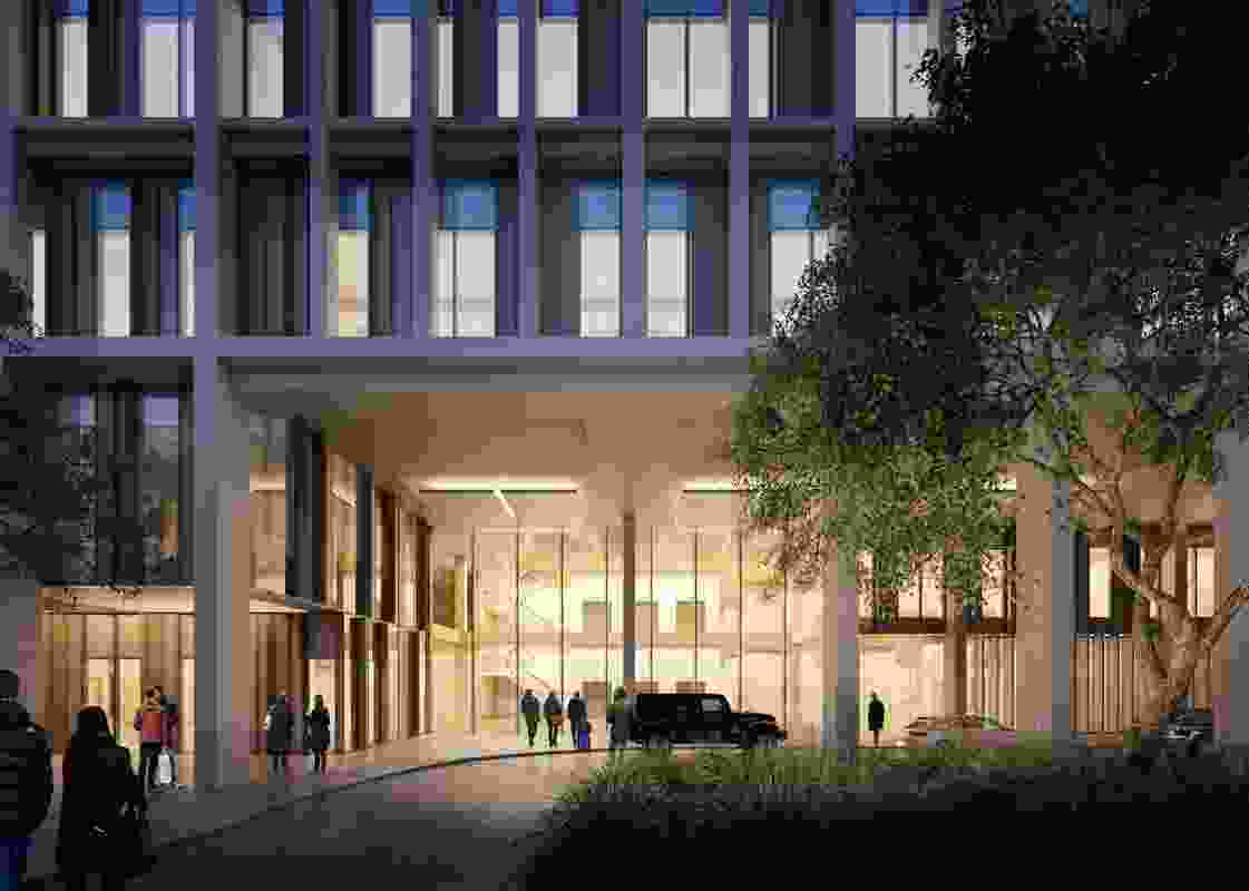 Entrance to the SRACC, a part of the Herston Quarter precinct masterplanned by Hassell.