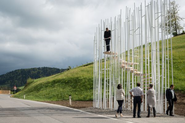 In 2014, the small Austrian village of Krumbach invited seven international architects to design bus stops for the town, including Bränden stop by Sou Fujimoto.