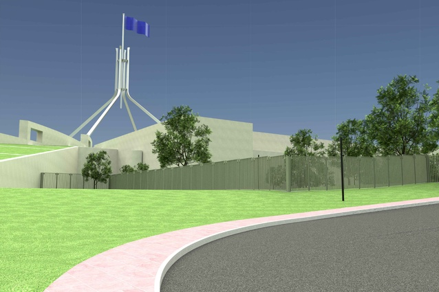 The perimeter fence design by Guida Moseley Brown Architects for Australian Parliament House.