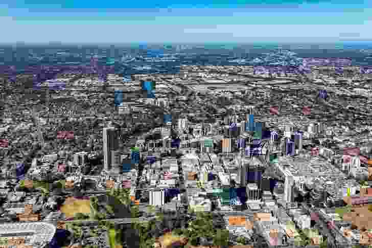 Aerial view of Parramatta.