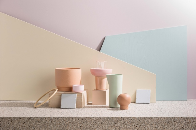 """The Cohabitate theme features """"light, airy and breezy"""" colours, such as peach and pink skin tones, minty greens, fresh lemon and duck egg blue."""