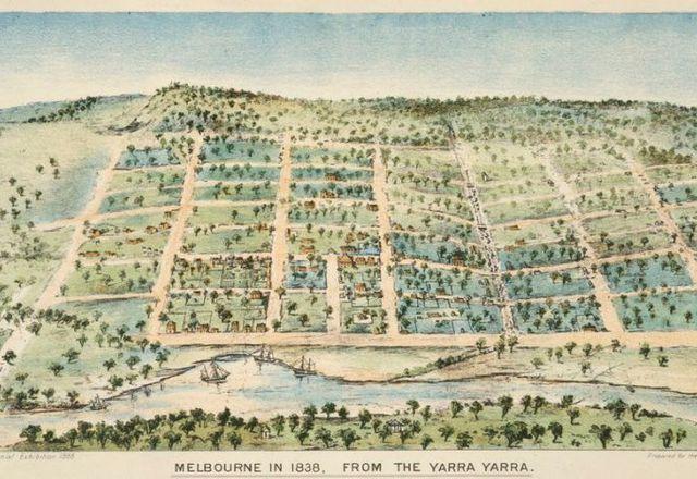 Melbourne in 1838, shaped by surveyor Robert Hoddle's grid design.